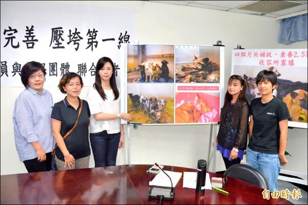 市議員萬美玲與三大動保團體,呼籲市府做好寵物源頭管理。(記者謝武雄攝)