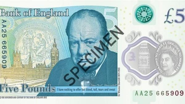 英國中央銀行英格蘭銀行將發行首張「塑質鈔票」,上頭印著前首相邱吉爾的頭像。(圖擷取自衛報)