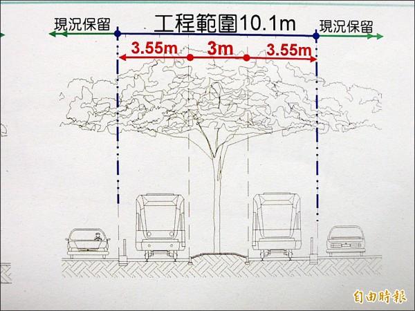 輕軌大順路段示意圖,中間為雨豆樹。(記者王榮祥攝)