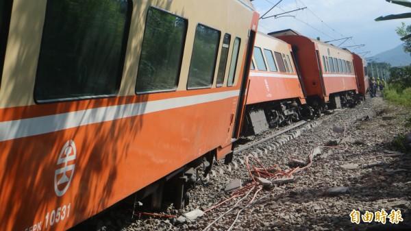 台鐵651次莒光號北上列車,在花蓮縣富里路段發生出軌意外。(資料照,記者王錦義攝)