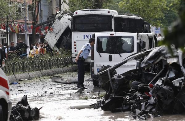 土耳其發生汽車炸彈攻擊事件。(歐新社)