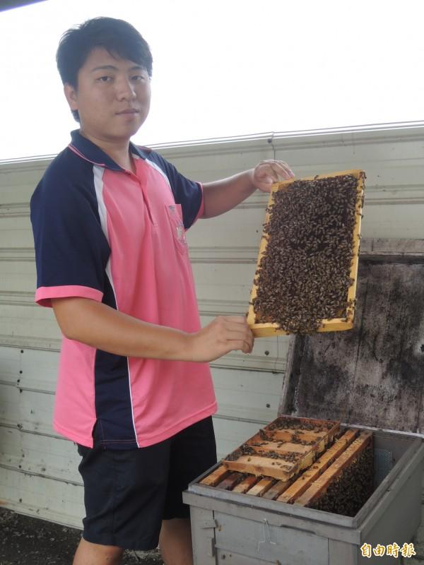 陳泓瑋和父親打造田蜜園養蜂農場,帶動當地休閒農場風潮。(記者廖淑玲攝)
