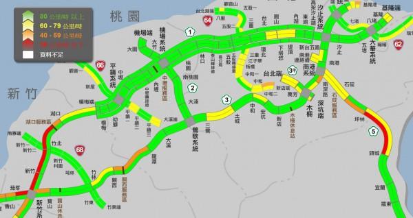 端午連假今登場,國道上午多處路段車多雍塞,過了中午以後,國道車流量漸漸減少。(圖片取自高公局)