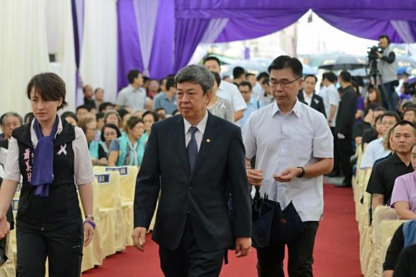 花蓮市長田智宣上月29日因病過世,副總統陳建仁、立法院長蘇嘉全、委員蕭美琴等人參加追思會。(家屬提供)
