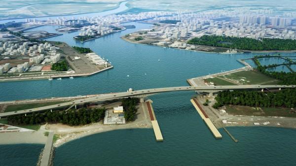 圖為安平跨港大橋模擬示意圖。(記者洪瑞琴翻攝)
