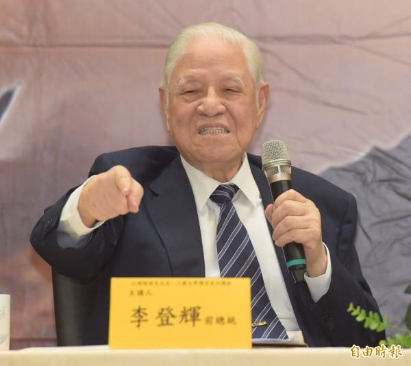 李登輝表示,自己從未主張台灣獨立,因為台灣已實質獨立。(記者黃耀徵攝)