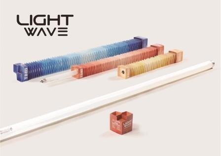 樹德科技大學視覺傳達設計系師生共同創作《LIGHT WAVE/光波》燈管包裝設計作品,勇奪德國2016年iF概念設計獎全球第1名。(照片取自樹德科大網站)
