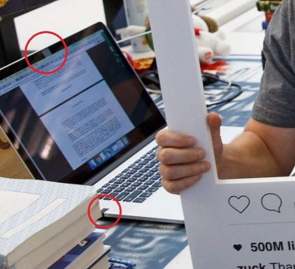 網友發現,祖克柏桌上的筆電,疑似為了防駭,在視訊鏡頭跟麥克風插座都貼上膠帶。(圖擷自Mark Zuckerberg臉書)