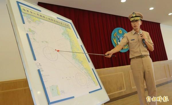 陸委會表示,有關雄三飛彈誤射事件,國防部已對外說明始末,圖為海軍參謀長梅家樹中將召開記者會。(記者劉信德攝)