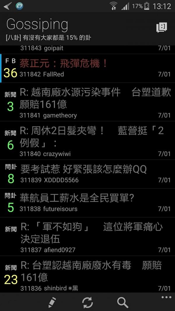 網友表示,蔡正元的臉書文是飛彈相關的第一篇,前幾篇有被刪除,不過通常一開始未經證實的造謠文,在八卦版會是x1以上起跳 故是飛彈造謠文的可能性很低。(圖擷取自PTT)