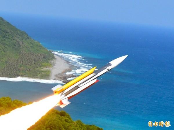 海軍表示,雄三飛彈已設定假想敵射程,不可能飛過海峽中線。(圖由中科院提供)