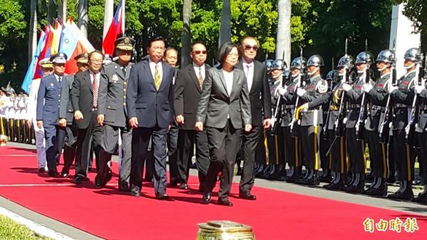 總統蔡英文今參加三軍五校畢業典禮。(記者陳文嬋攝)