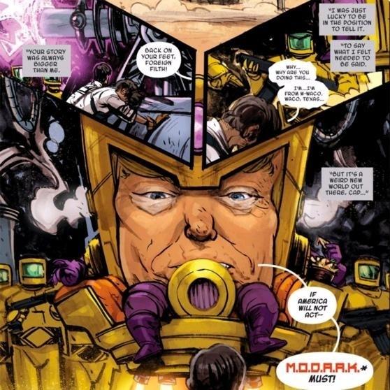 知名漫畫公司「漫威」(Marvel)把川普畫成超級反派,與美國隊長打對台,引起熱烈討論。(圖擷自spiderboy™ @sarcasticIwtTwitter)