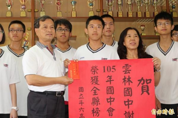 雲林考區國中教育會考榜首謝宇昊選擇就讀斗六高中。(記者詹士弘攝)