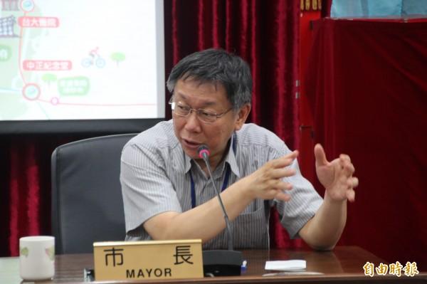 針對雙北該如何合作防颱,台北市長柯文哲表示,真正穩定的政治應該是每個工作都有職務代理人,並強調須完善制度。(資料照,記者鍾泓良攝)