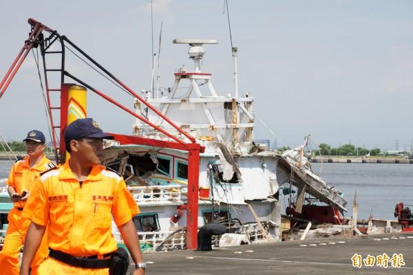 海軍錦江級軍艦「金江」艦誤射雄三飛彈,造成漁民1死3傷事件。(記者黃佳琳攝)