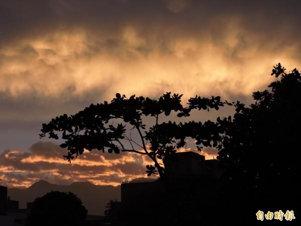 尼伯特颱風為台東地區陸續帶來降雨,傍晚雨勢停歇,天空出現金黃色火燒雲。(記者張存薇攝)