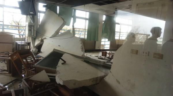 尼伯特颱風肆虐,全國139所學校傳回災情,台東專校也受災嚴重。(圖由教育部提供)