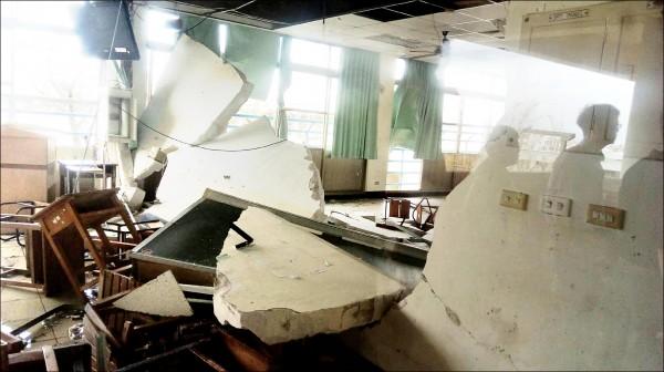 尼伯特颱風肆虐,全國139所學校傳回災情,台東專校也受災嚴重。(教育部提供)
