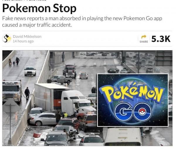 外媒「Cartel Press」報導,美國一名26歲男子在麻州高速公路上邊開車邊玩手遊,甚至為了抓皮卡丘造成嚴重車禍,引起國內外媒體關注,後來被其他媒體證實此消息為假。(圖擷自Snopes.com)