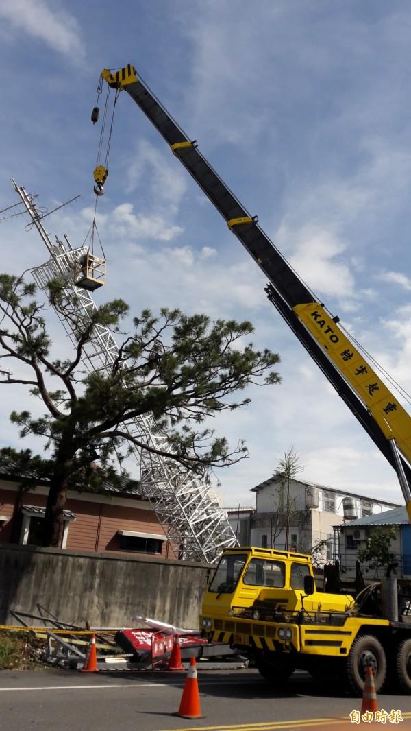 台東氣象站建站115年,在尼伯特颱風由這支風力塔測得百餘年極速後,倒在百年黑松樹,今天拆除。(記者黃明堂攝)