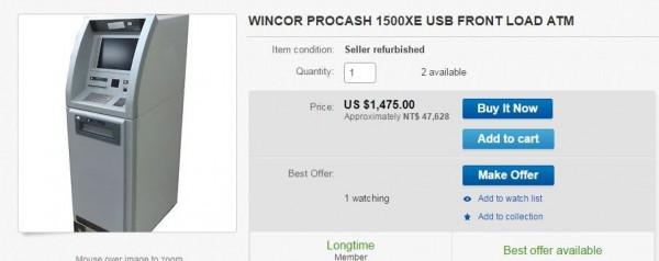 被歹徒瞄準的ATM其實是老舊機型,在ebay拍賣網站上只要1475美元(約新台幣4萬7000元)就能買到。(圖擷自ebay網站)