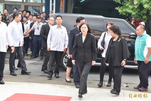 飛彈遇難船長黃文忠今天告別式,蔡英文總統親送最後一程。(記者蘇福男攝)