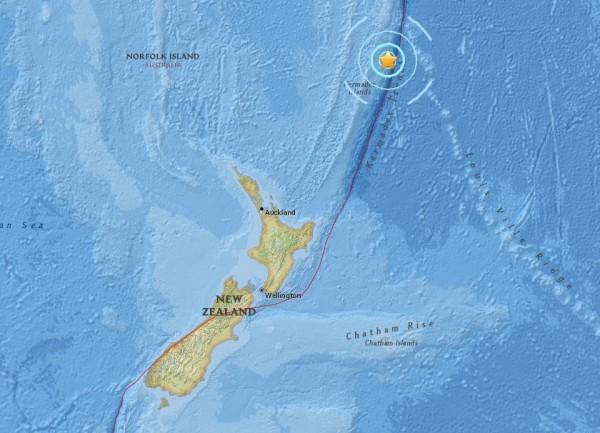 美國地質調查局指出,紐西蘭14日凌晨發生芮氏規模6.3地震。(圖擷取自美國地質調查局網站)