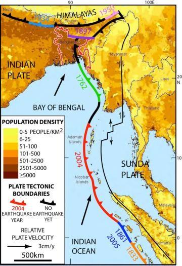 專家警告恆河三角洲底下存在著巨大斷層,已經好幾百年沒有活動,潛伏著巨大地震可能性。(圖擷自EurekAlert)