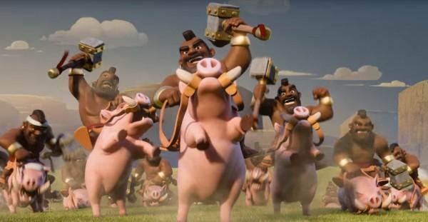 由荷蘭廠商研發的《部落衝突》手遊因為「野豬騎士來囉」等有趣廣告,吸引許多台灣民眾下載遊玩。(圖擷自Youtube)