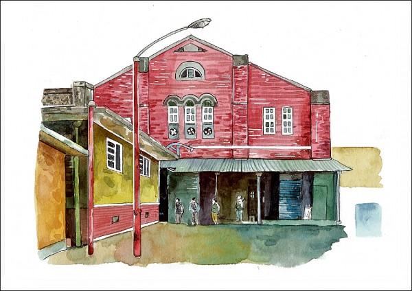 微光分子以插畫家的眼光,創作台中舊酒廠、現為文創園區的插畫,詩意盎然。(記者蔡淑媛翻攝)