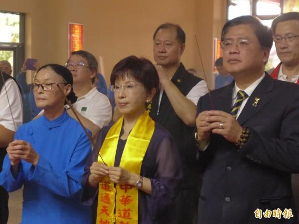 國民黨主席洪秀柱出席中華道教總會周年慶暨總部落成典禮。(記者李雅雯攝)