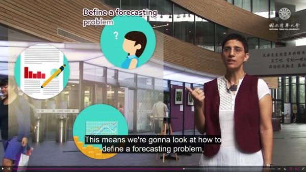 清華大學以色列籍的特聘教授徐茉莉為介紹新的磨課師課程,錄製了3分多鐘的短片,片尾還俏皮地以中文「歡迎光臨」結語。(清大提供)