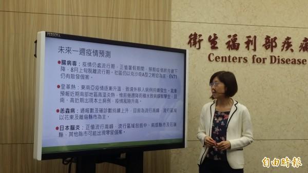 疾管署疫情中心主任劉定萍說明未來一週疫情預測。(記者林惠琴攝)
