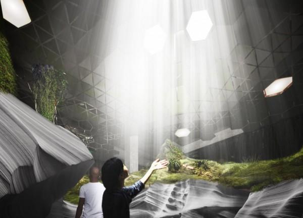 內部採用「天光」設備,讓陽光可以被導入地下,讓植物可行光合作用。(圖擷取自dezeen)