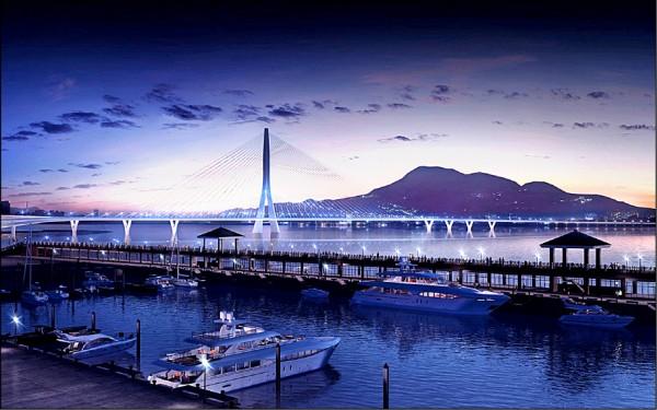 淡江大橋完工模擬圖。(取自交通部公路總局西部濱海公路北區臨時工程處網頁)