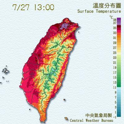 今天天氣炎熱,台北地區下午1時10分已出現38度高溫。(圖擷自中央氣象局)