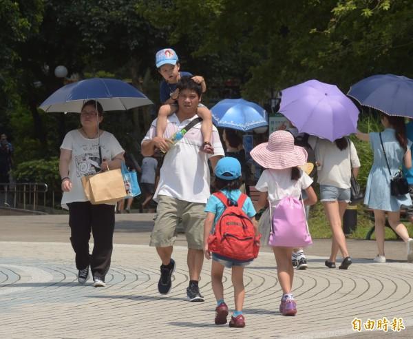 台北今天日最高溫飆到38.5度,《氣象局》提醒民眾注意補充水分。(記者黃耀徵攝)