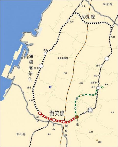 大台中山手線路線圖。(台中市政府提供)