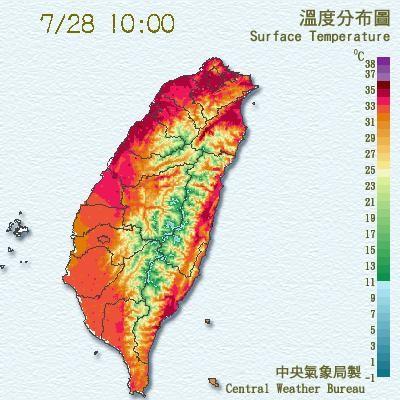 氣象局提醒,今天高溫恐破37度。(圖擷自氣象局)