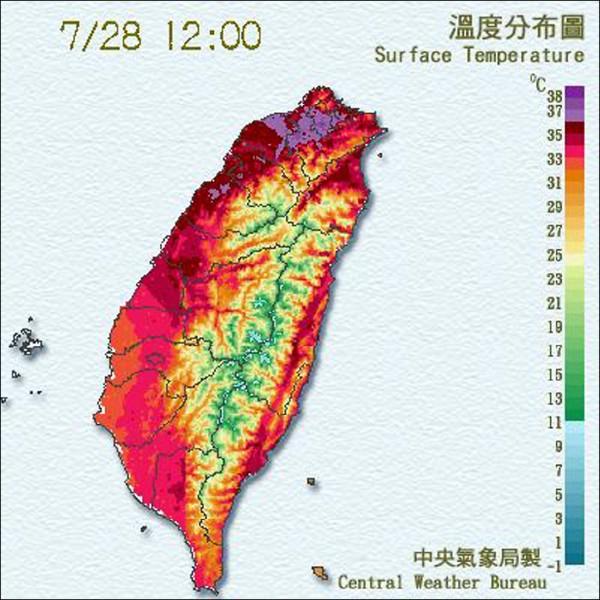 台北昨天中午又飆破38度。(圖取自中央氣象局)