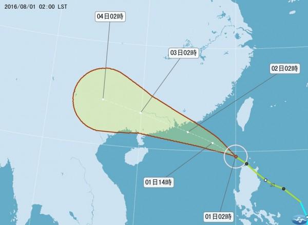 「妮妲」颱風未來將以西北西的方向進入巴士海峽、東沙島海面朝大陸廣東方向前進。(圖片取自氣象局網站)