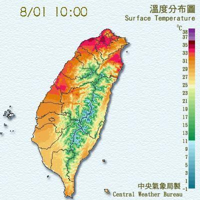 偏東風過山沉降影響,西半部的氣溫仍然偏高,新屋地區10時15分高溫已達37度。(中央氣象局)