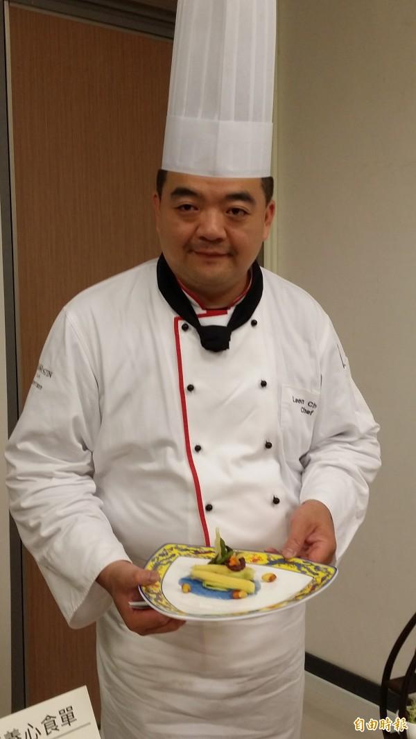 台北威斯汀六福皇宮主廚張立峯獲頒優良廚師「金帽獎」。(記者林惠琴攝)