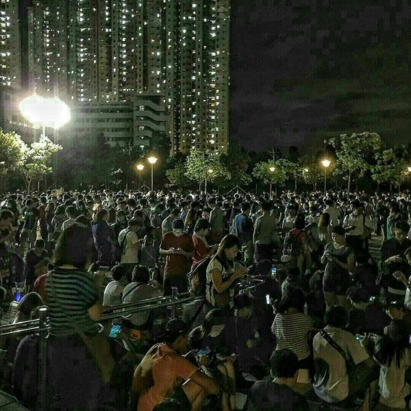 香港某公園中,擠滿了密密麻麻的玩家,每一個都緊盯著手中的手機螢幕。(圖擷取自PTT)