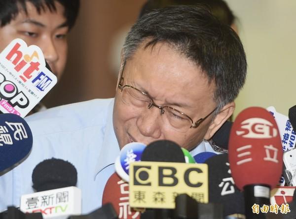 台北市長柯文哲12日出席105年度公立幼兒園園長園主任會議,會前接受媒體聯訪。(記者廖振輝攝)
