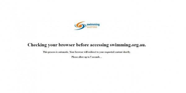 由於官網稍早遭受網攻,目前欲瀏覽「澳洲游泳協會」網站時都會經過一道檢測程序,以維安全。(擷取自「澳洲游泳協會」網站首頁)