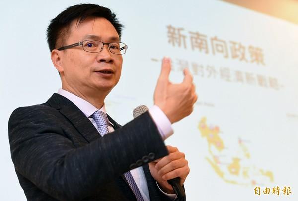 總統府新南向政策辦公室主任黃志芳12日為東協人力教育中心揭牌並出席新南向教育論壇闡述新南向政策。(記者張嘉明攝)