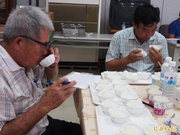 鹿野稻米品質競賽今天舉行,評審仔細評比每個參賽的稻米。(記者王秀亭攝)