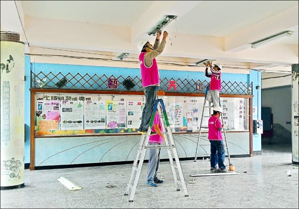 校園LED計畫施作情形。(日月光文教基金會提供)